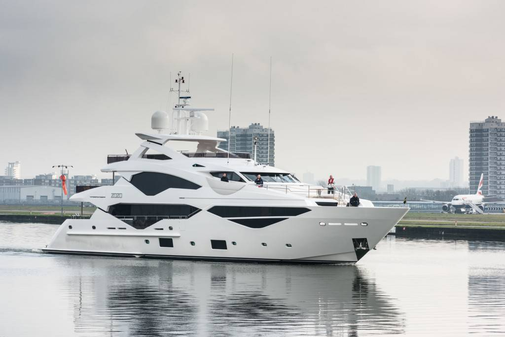 Sunseeker 131 Yacht arives in London-5956