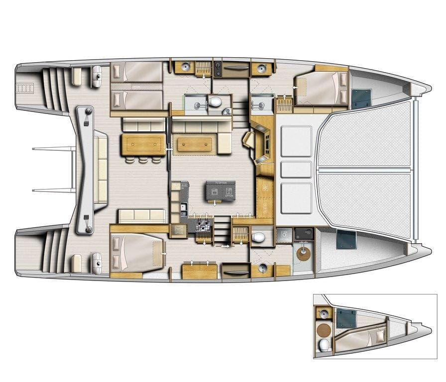 catana 53 layout custom dinette