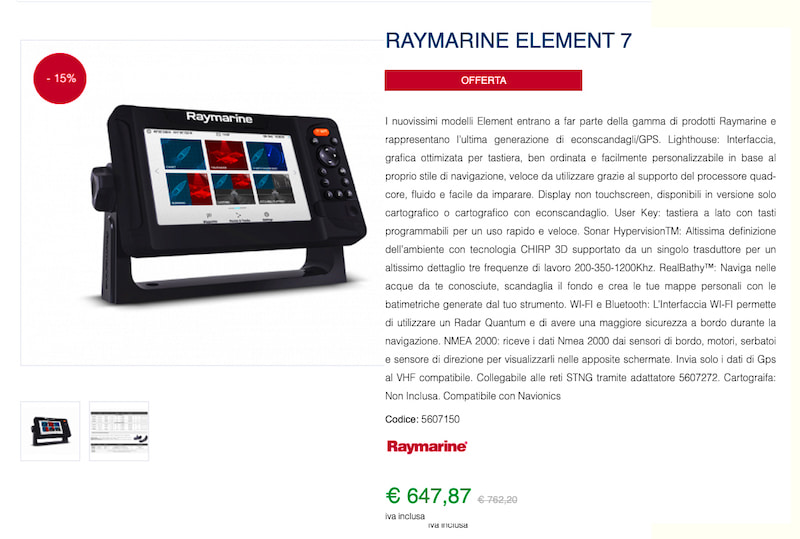 tribordo raymarine element 7