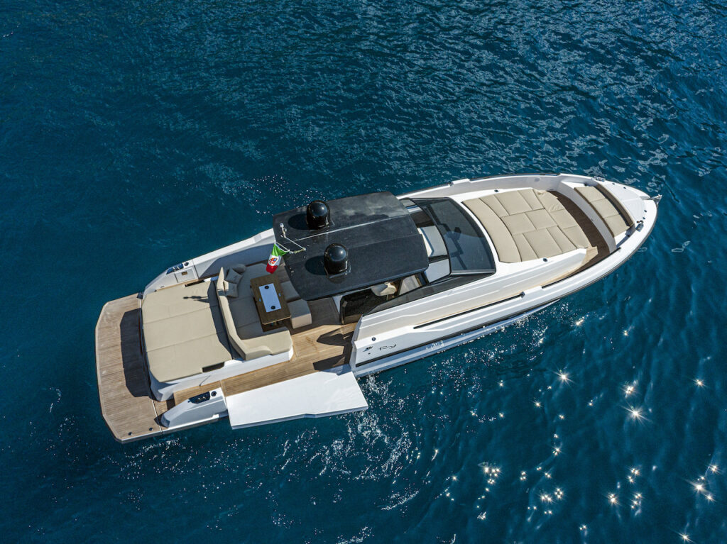 yacht from drone